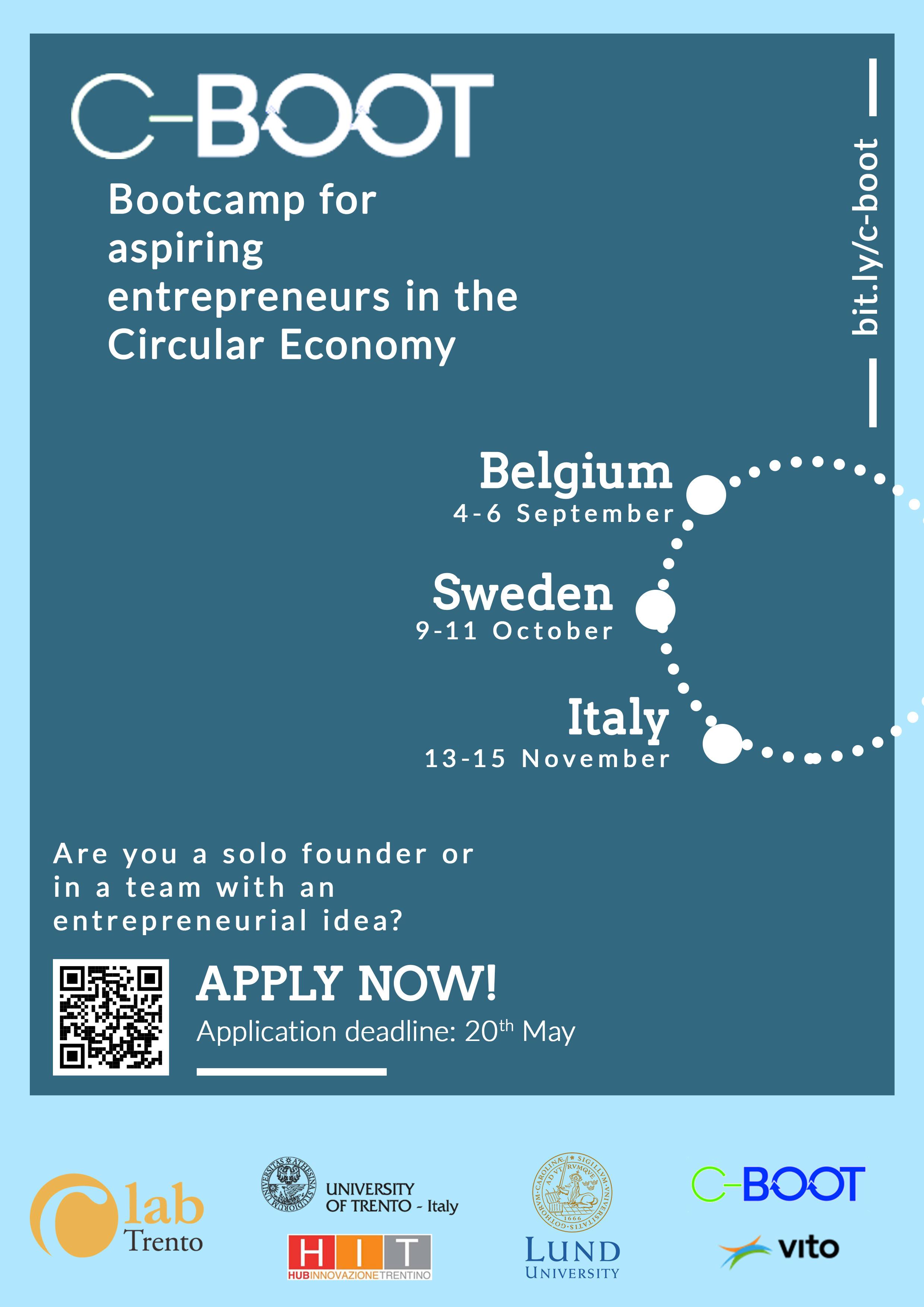 Parte anche a Trento C-BOOT: il programma di coaching internazionale per nuova imprenditorialità nella circular economy